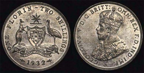 1932 K.G. V AUSTRALIA FLORIN  Choice-Gem Unc