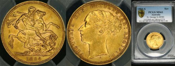 1884 SYDNEY MINT YOUNG HEAD SOVEREIGN  PCGS MS61
