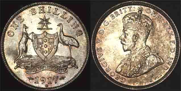 1917 K.G. V AUSTRALIA SHILLING   CHOICE UNC