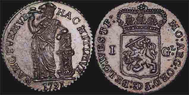 1791 DUTCH - WEST FRIESLAND ONE GULDEN