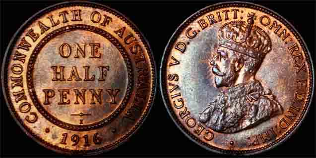 1916 K.G. V AUSTRALIA HALF PENNY  Choice UNCIRCULATED