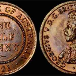 1921 K.G. V AUSTRALIA HALF PENNY   Choice UNCIRCULATED