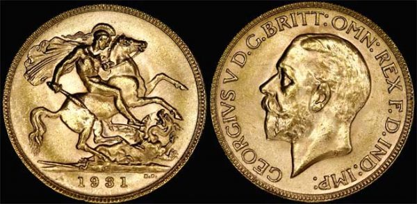 1931 PERTH MINT K.G. V SMALL HEAD SOVEREIGN  Choice-Gem Unc
