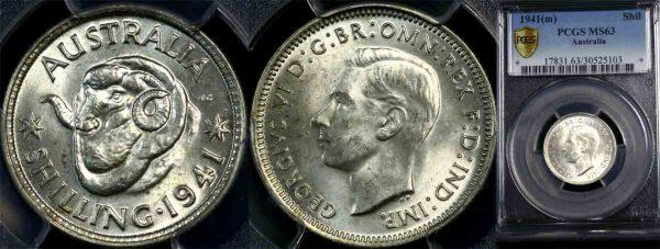 1941 K.G. VI AUSTRALIA SHILLING   (CHOICE UNC)  MS63