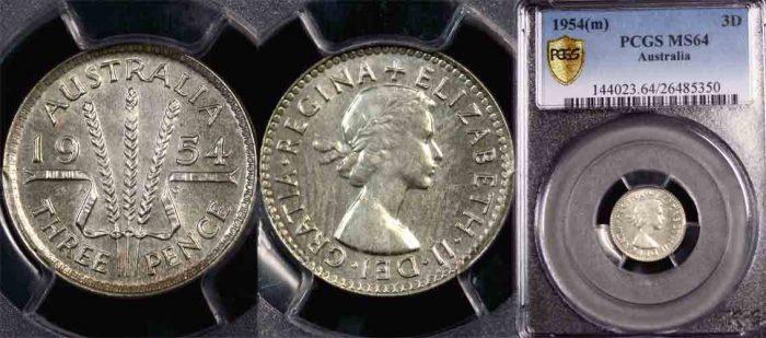 1954 QE II AUSTRALIAN THREEPENCE Choice-Gem Uncirculated MS64