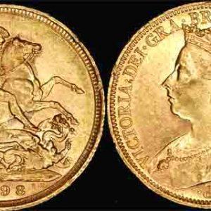1898 SYDNEY MINT VEILED HEAD SOVEREIGN  (aUNC/UNC)
