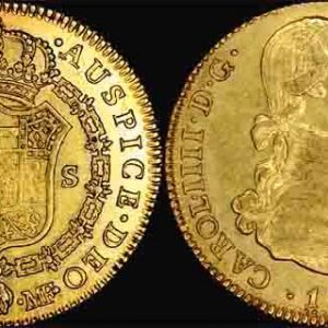 1795 MF CHARLES IIII   GOLD 4 ESCUDOS