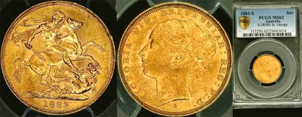 1883 SYDNEY MINT YOUNG HEAD SOVEREIGN   PCGS MS62