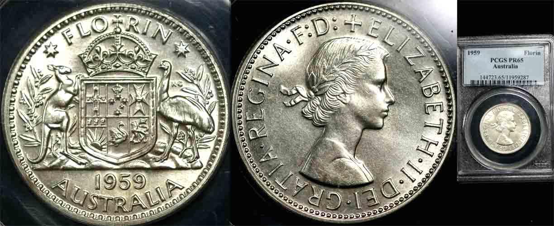 1959 Q.E.II AUSTRALIA FLORIN  PROOF   PCGS PR65