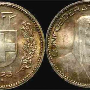 1923 SWITZERLAND 5 FRANCS