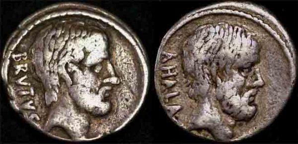 54 BC ROMAN REPUBLIC : BRUTUS DENARIUS